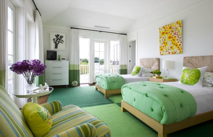 color and space ideas (love the greens and teal)  - Light Transitional Kid's Room by Jed Johnson