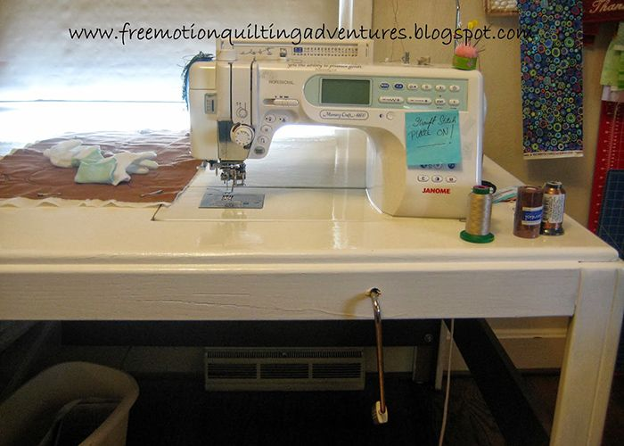 Sewing table at level for quilting bigger projects on a - Small sewing machine table ...