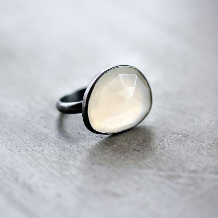 White Moonstone Ring, Snow White Rose Cut Freeform Gemstone Oxidized Sterling Silver Ring - US Size 8 - Phantom. $153.00, via Etsy.