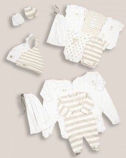 Unisex Baby Hospital List 14 piece Starter Set - Hospital Bag - View by Range - Newborn Baby List. Good to start buying before the gender is known. after birth you can always add bows head bands or some things for boys