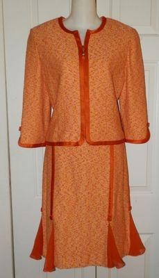 St John Couture Skirt Suit 8 M Orange Novelty Knit Jacket Ribbon Godet Spring | eBay