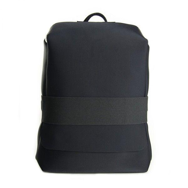 Yohji Yamamoto Black Qasa Small Backpack (€205) ❤ liked on Polyvore featuring bags, backpacks, black, womenbagsbackpacks, daypack bag, padded backpack, y3 bag, zip bag and backpack bags
