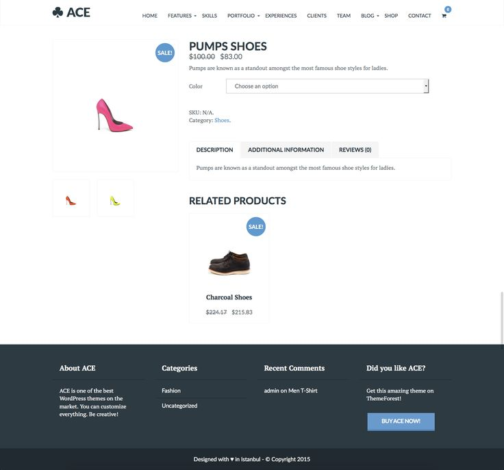 ACE is a clean, multi-purpose WordPress theme. ACE has included powerful admin panel, easy-to-use drag&drop page builder, WooCommerce support, Revolution Slider and much more.  ACE is a great choice for your e-commerce, portfolio, business, photography or blogging website.