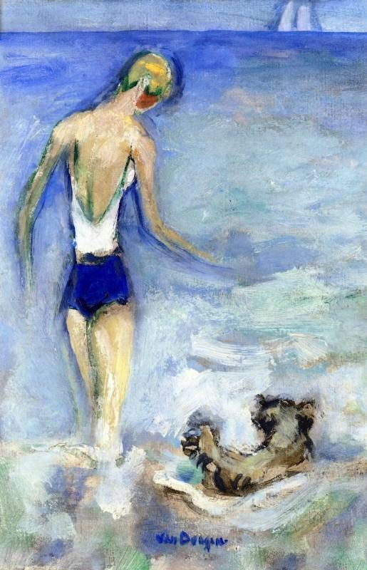 Bather and her Dog in the Waves, Kees van Dongen