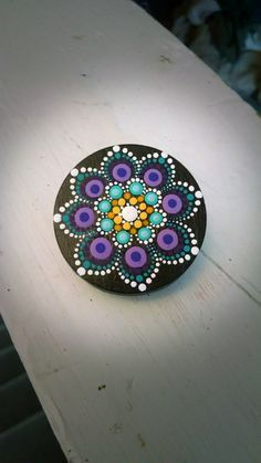 Hand Painted Slate Stone Colorful Dot Art Painted Rock ~ Magnetic Clip ~ Turquoise Purple Flower ~ Mandala Design ~ Home Decor Mini Art by P4MirandaPitrone on Etsy
