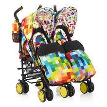 Poussette Supa Dupa Double Pixelate. Design et modernité signé #Cosatto pour cette #poussette double. Parfaite pour promener vos enfants de la #naissance jusqu'à 36 mois (15kg environ chacun).