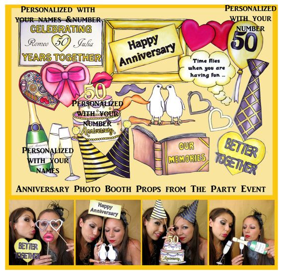 Anniversary photo booth props for your anniversary party with