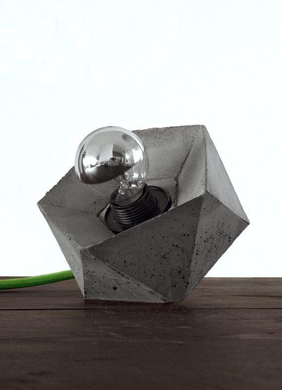 Lámpara geométrica concreta por blokk en Etsy