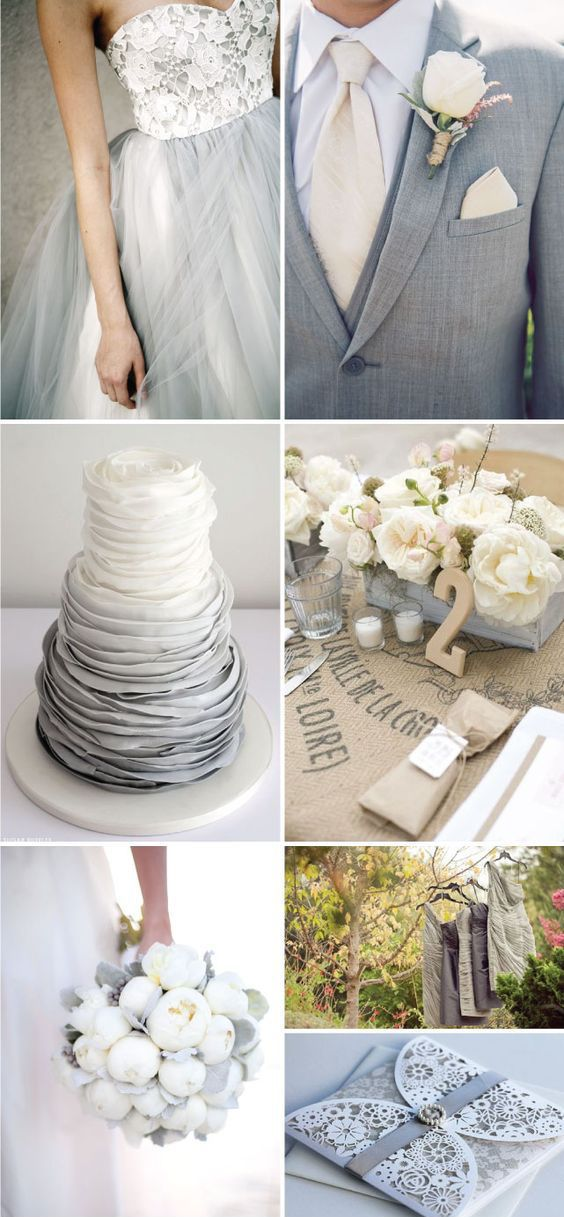 Inspiración para la decoración de bodas en gris y blanco.