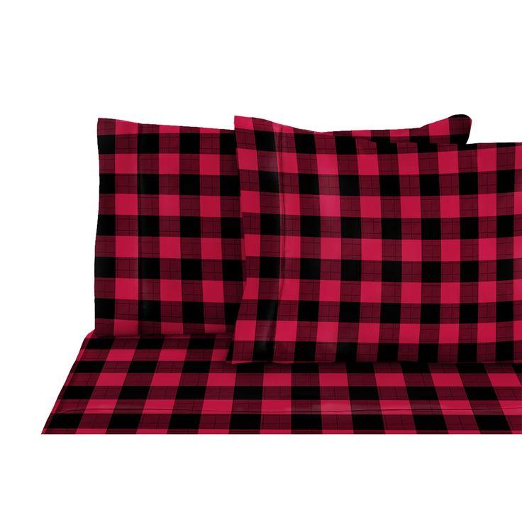 Agrandir l'image de Drap flanelle à carreaux rouge/ noir