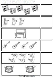 Werkblad hoeveel muziekinstrumenten (getal symbolen - hoeveelheid)