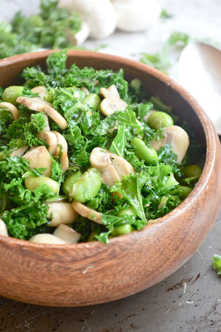 Warm Mushroom, Edamame & Kale Salad.
