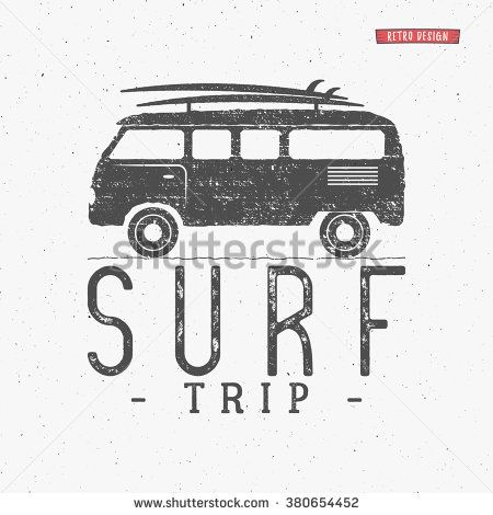Surf trip concept Vector Summer surfing retro badge. Beach surfer emblem , rv outdoors banner, vintage background. Boards, retro car. Surfer icon design. For summer Logotype, label, party brochure