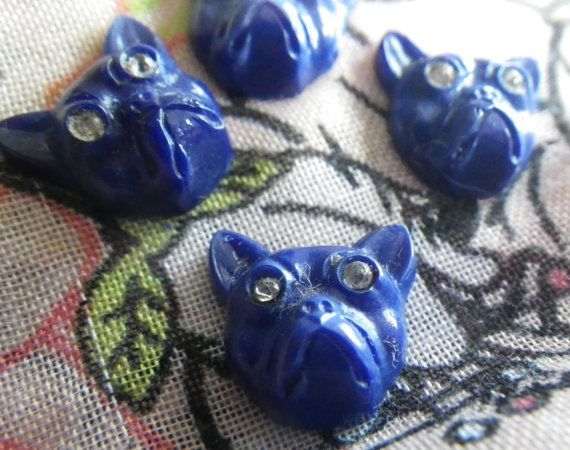 Cobalt Blue Bulldog Cabochons with Rhinestone by StDymphnaSupplies