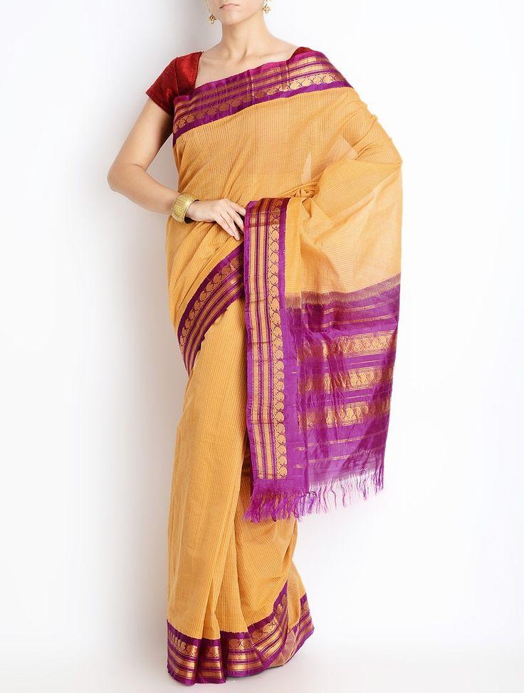 Gadwal sari - handloom cotton with silk borders, available at Omnah. www.facebook.com/omnah.  Pic courtesy: Jaypore