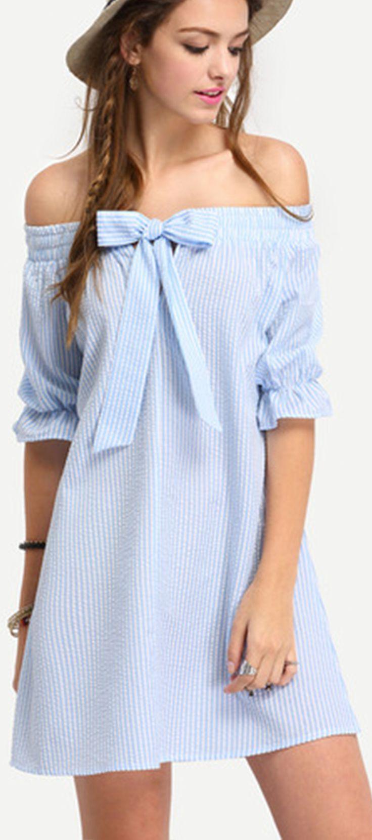 Blue Off The Shoulder Striped Bow Shift Dress
