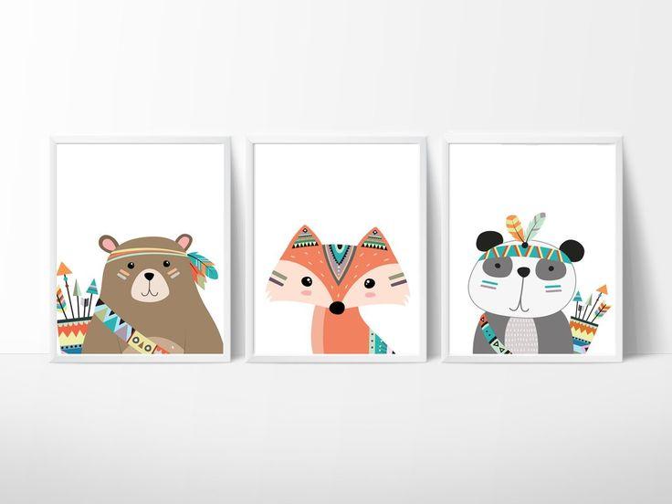Tribal Woodland Animals Nursery Room Wall Decor, Print your own decor