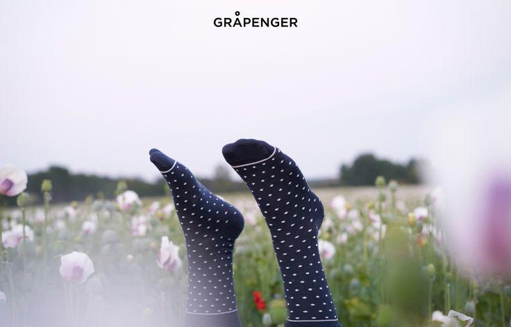 Socks in Poppy Field | GRÅPENGER #premium #colorful #socks #dotty #navy #poppy
