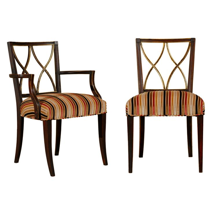 A Set Of Six (6) Hourglass Back Dining Chairs By John Stuart | From