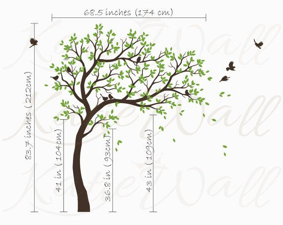 White Tree Wall Decals Nursery Large Wall Decal Kids Room Wall