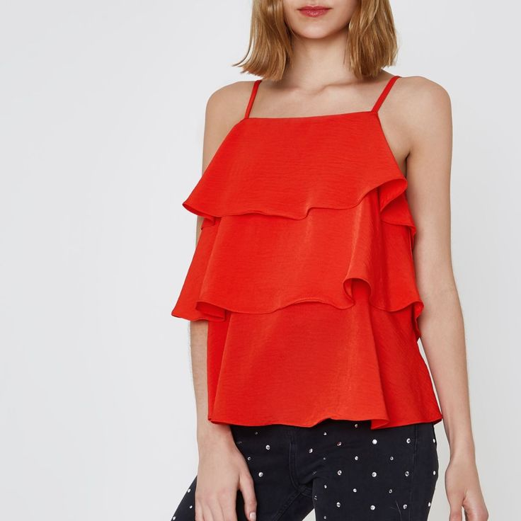 Red tiered frill cami top - Cami / Sleeveless Tops - Tops - women