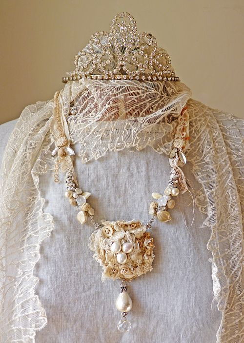 Rhinestones, pearls and lace.