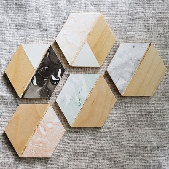 Marbled Hexagon Wooden Coasters Set of Four by GastonMade on Etsy