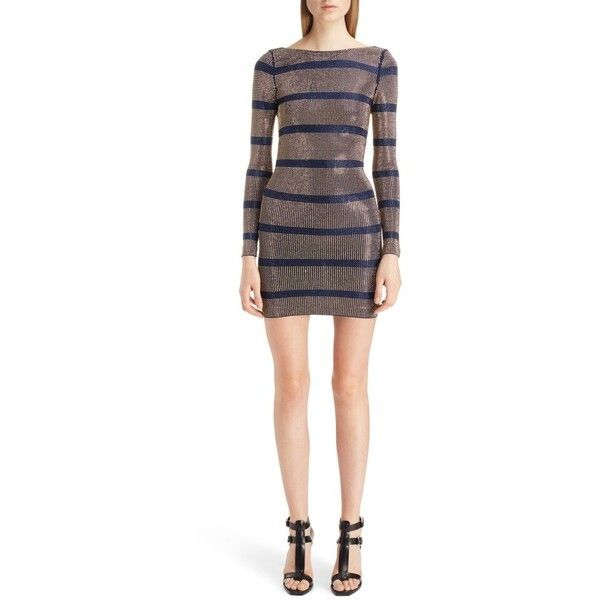 Women's Balmain Embellished Stripe Minidress (€2.110) ❤ liked on Polyvore featuring dresses, navy blue and gold, short gold dresses, short white cocktail dresses, gold mini dress, white sparkly dress and short dresses