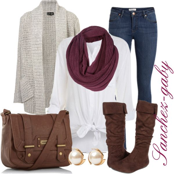"""Brown boots & a purple scarve"" by sanchez-gaby on Polyvore"