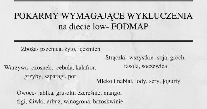pokarmy wymagające wykluczenia w czasie stosowania diety low-FODMAP