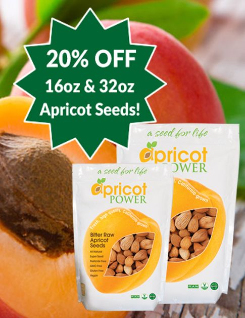 """Apricot Seed Sale! Get 20% OFF bitter, raw, California-grown apricot seeds (16oz and 32oz).  Use Promo code  SEEDTACULAR617 at Checkout!  We're celebrating the nutritional benefits of apricot seeds with a """"Seed-Tacular"""" sale. Our 16oz & 32oz sizes of bitter, raw, California-grown Apricot Seeds are on sale at 20% OFF through June 5th, 2017! . . . Offer not valid for wholesale orders. Cannot be applied to past orders or used in conjunction with other promotion."""