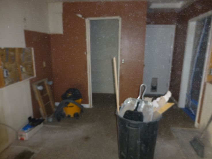 Day 1:  Still inside the isolation chamber, the view from the other side of the kitchen.  The old pantry is planned to be no more tomorrow.