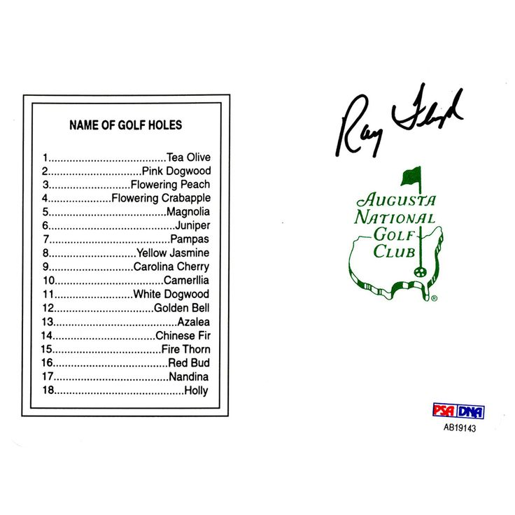 Raymond Floyd Signed Augusta National Masters Scorecard (PSA/DNA)