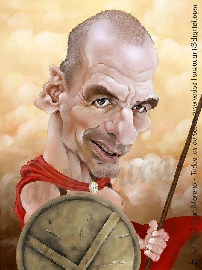 Caricatura del político Griego Yanis Varoufakis - Arte Digital por Fran Moreno