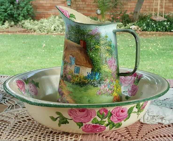 Cottage on jug and dish, Acrylic