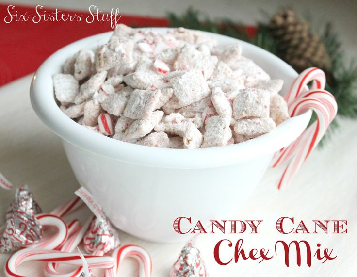 5 cups rice Chex cereal   1 bag (10 ounces) Candy Cane Hershey Kisses, melted  1 cup powdered sugar  1/2 cup crushed candy canes (optional)
