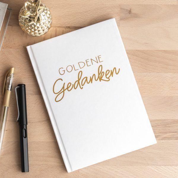 Notizbuch 'goldene Gedanken' • weiß mit Schrift in gold • Onlineshop www.prettypott.de #notizbuch #gold