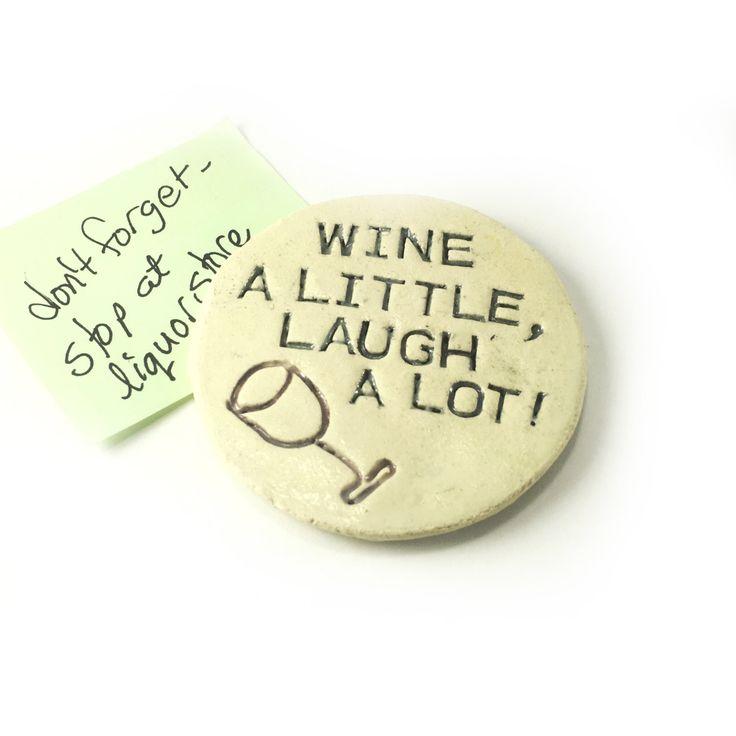 Fridge Magnet. Ceramic Magnet. Wine Drinkers Magnet. Wine Fridge Ornament. Gift For Wine Lover. Wine Fanciers Gift. Handmade Clay Magnet. by FaeGartenClay on Etsy