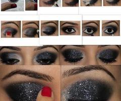 How to . .: Make Up, Eye Makeup, Eye Shadows, Dark Eye, Eyeshadows, Eyemakeup, Smokey Eye, Glitter Eye, New Years