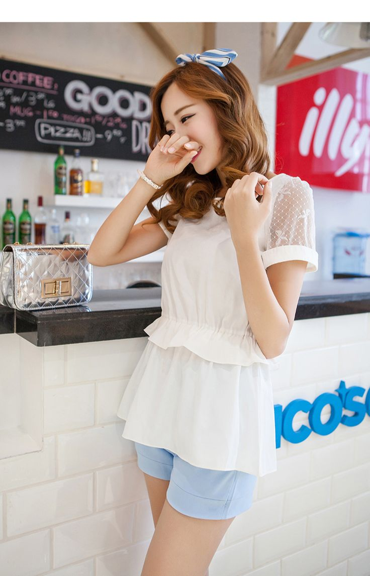 New Arrivals : Summer chiffon blouse gathered falbala waist see trough sleeves YRB0792