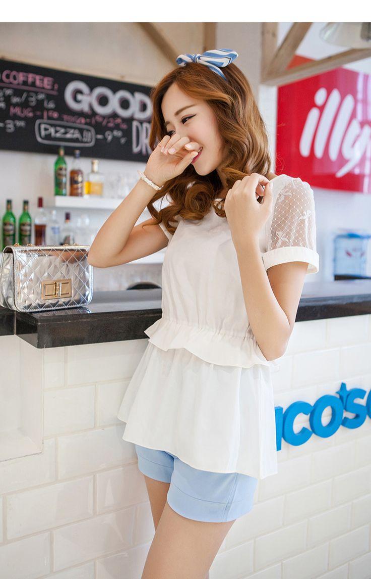 New Arrivals : Summer chiffon blouse gathered falbala waist see trough sleeves YRB0792