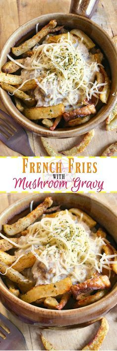French Fries with Mushroom Gravy - Anna Can Do It! - Crispy French Fries with Mushroom Gravy is filling, quick and delicious! It's an amazing meal, full of flavors, texture and melted cheese! I can clearly see why Poutine is one of the favorite Canadian dishes!
