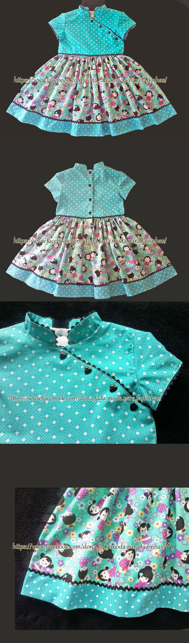 Vestido bonequinha chinesa - 3/4 anos - - - - - -Chinese doll dress - 3/4 years- - - - - baby - infant - toddler - kids - clothes for girls - - - https://www.facebook.com/dona.fada.moda.para.fadinhas/