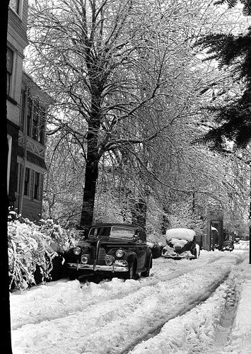 Snow Scene in Harrisburg PA    The photo was taken by , in the late 1930s or early 1940s.
