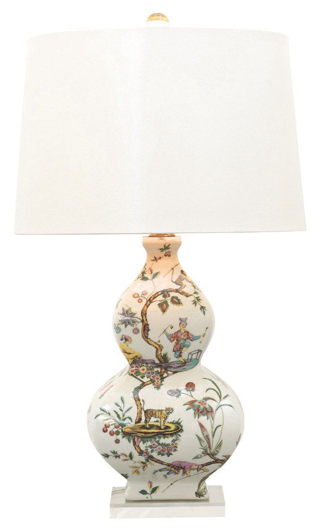 Elegantly Anchored To A Lucite Plinth, This Porcelain Table Lamp Known As