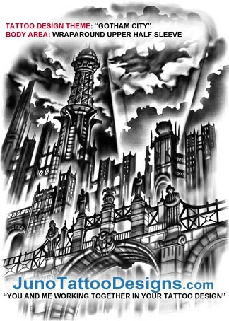 Gotham city tattoo design for Gothic city tattoos
