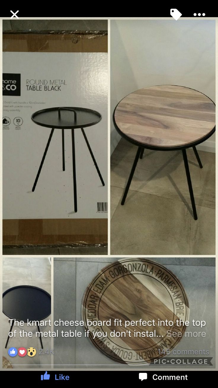 Kmart table hack with wooden tray