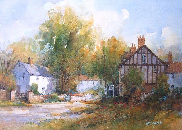 "Wivenhoe, Essex, England  watercolor  14"" x 21 1/2"" SOLD        Market Town, Dorset, England  watercolor  9"" x 12"" SOLD        Dusk, Hong..."