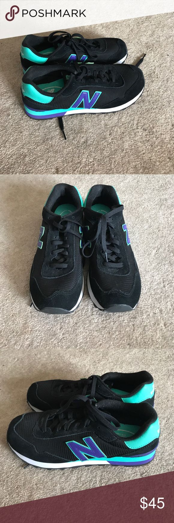New Balance sneaker Black, real and purple New Balance sneaker, worn a handful of times. Size 9.5 New Balance Shoes Sneakers