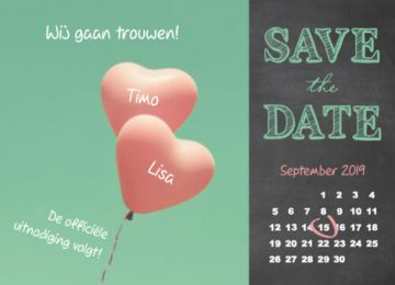 Save the date met foto roze ballonnen
